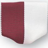 PIN BACK RIBBON, MAROON AND WHITE