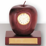 ROSEWOOD APPLE CLOCK ON BASE