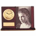 ROSEWOOD DESK CLOCK PHOTO FRAME WITH PLATE