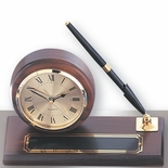 DESK CLOCK, WALNUT BASE, 1 PEN, PLATE