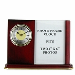 CLOCK/PHOTO FRAME MAHOGANY DESK SET