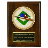 6 X 8 INCH WALNUT FINISH PLAQUE WITH CAST STONE MEDALLION, BLACK PLATE