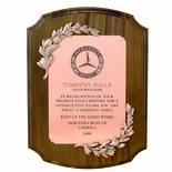 9 X 12 INCH PLAQUE GENUINE WALNUT WITH BRONZE WREATHS