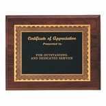 8 X 10 INCH GENUINE WALNUT PLAQUE WITH BLACK SCREENED PLATE