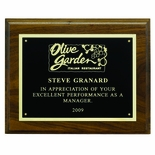 7 X 9 INCH PLAQUE GENUINE WALNUT WITH BLACK SCREENED PLATE