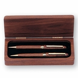DELUXE WALNUT PEN AND PENCIL SET