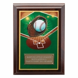 5 X 7 INCH BASEBALL DIGITAL PHOTO PLAQUE WITH GOLD ALUMINUM ENGRAVING PLATE