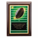 5 X 7 INCH FOOTBALL DIGITAL PHOTO PLAQUE WITH BLACK ENGRAVING PLATE