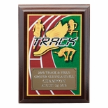 5 X 7 INCH TRACK DIGITAL PHOTO PLAQUE WITH GOLD ALUMINUM ENGRAVING PLATE