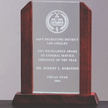 9 X 7-1/2 BEVELED ARCH JADE GLASS AWARD, WOOD FRAME