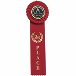 RED RIBBON, ROSETTE 2ND PLACE 2 INCH  MYLAR