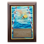 5 X 7 INCH SWIMMING DIGITAL PHOTO PLAQUE WITH GOLD ALUMINUM ENGRAVING PLATE