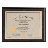 10-1/2X13 PLAQUE WALNUT FINISH HOLDS 8-1/2X11 CERTIFICATE