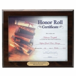10-1/2X13 PLAQUE, RUBY WOOD FINISH, HOLDS 8-1/2X11 CERTIFICATE
