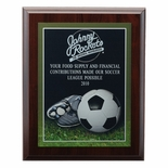8 X 10 INCH FOOTBALL  PHOTO SPORTS PLAQUE WITH LASER ENGRAVED PLATE