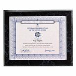 10-1/2 X 13 BLACK SIMULATED MARBLE PLAQUE HOLDS 8-1/2 X 11 INCH CERTIFICATE