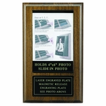 6 x 10 INCH WALNUT VENEER PHOTO PLAQUE HOLDS 4X6 PHOTO