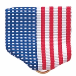PIN BACK RIBBON, AMERICAN FLAG - GOLD RING