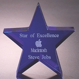 4 INCH OPTICAL CRYSTAL BLUE STAR PAPERWEIGHT