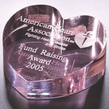 3 INCH OPTICAL CRYSTAL PINK HEART PAPERWEIGHT