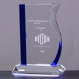 8-1/2 INCH OPTICAL WAVE CRYSTAL AWARD