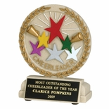 5-1/2 INCH CHEERLEADER STONE RESIN TROPHY