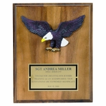 8 X 10 INCH EAGLE PLAQUE WALNUT FINISH WITH BRASS PLATE