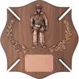 14 X 14 INCH GENUINE WALNUT MALTESE CROSS FIREMAN PLAQUE