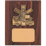 8 X 10 INCH EMS, PARAMEDIC PLAQUE, GENUINE WALNUT