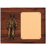 8 X 10 GENUINE WALNUT FIREFIGHTER PLAQUE WITH BRASS PLATE