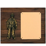 8 X 10 WALNUT FINISH FIREFIGHTER PLAQUE WITH BRASS PLATE