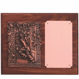 8 X 10 FIREFIGHTER PLAQUE, WALNUT FINISH, WITH BRONZE COPPER PLATE
