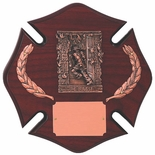 10 X 10 INCH ROSEWOOD FINISH MALTESE CROSS PLAQUE WITH CASTING AND WREATHS