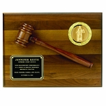 9 X 12 INCH PLAQUE GENUINE WALNUT FINISH WITH GAVEL, HOLDS 2 INCH INSERT