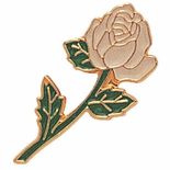 LONG STEM WHITE ROSE PIN