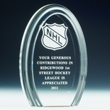 7 X 4-3/4 INCH OVAL ACRYLIC TROPHY WITH REFLECTIVE BASE