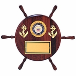13 GENUINE WALNUT WHEEL SHIP PLAQUE TAKES 2 INCH MILITARY INSERT