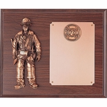 10 X 12 INCH FIREFIGHTER GENUINE WALNUT PLAQUE WITH BRONZE PLATE