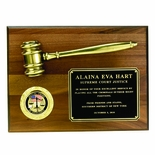 9 X 12 INCH PLAQUE WALNUT FINISH WITH METAL GAVEL, HOLDS 2 INCH INSERT