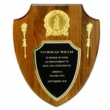 10 X 12 INCH GENUINE WALNUT MILITARY SHIELD PLAQUE,  TAKES 2 INCH INSERT