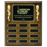 10 X 12 INCH MULTIPLE PLATE WALNUT FINISH PLAQUE WITH 12 BLACK SCREENED PLATES