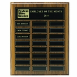 12 X 15 INCH  WALNUT VENEER MULTIPLE PLATE PLAQUE WITH 24 MAGNETIC PLATES
