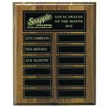 8 X 10 INCH WALNUT VENEER MULTIPLE PLATE PLAQUE WITH 12 MAGNETIC PLATES