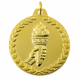 1-1/2 INCH ACHIEVEMENT TORCH MEDAL - MULTIPLE COLORS