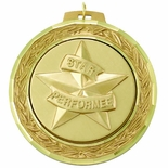 2 3/4 INCH MEDAL FRAME, STAR PERFORMER MEDALLION, GOLD