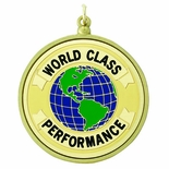 2 3/16 INCH MEDAL FRAME, WORLD CLASS PERFORMANCE MEDALLION - MULTIPLE COLORS