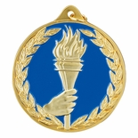 2 1/2 INCH ACHIEVEMENT TORCH AND HAND MEDAL, GOLD