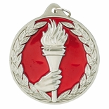 2 1/2 INCH ACHIEVEMENT TORCH AND HAND MEDAL, SILVER