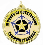2-1/4 INCH OUTSTANDING COMMUNITY SERVICE MYLAR MEDAL