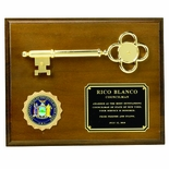 8 X 10 INCH PLAQUE WALNUT FINISH WITH METAL KEY, HOLDS 2 INCH INSERT